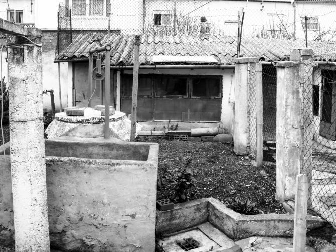 patio típico con pozo y gallineros